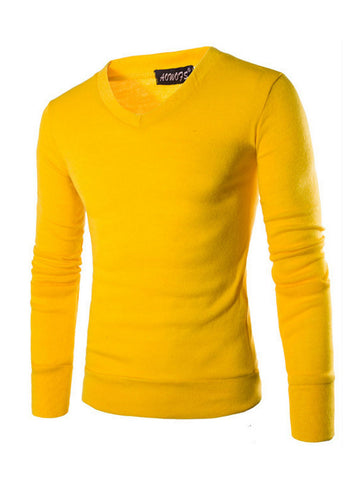 Mens V-Neck Long Sleeve T-Shirt - Bychicstyle.com