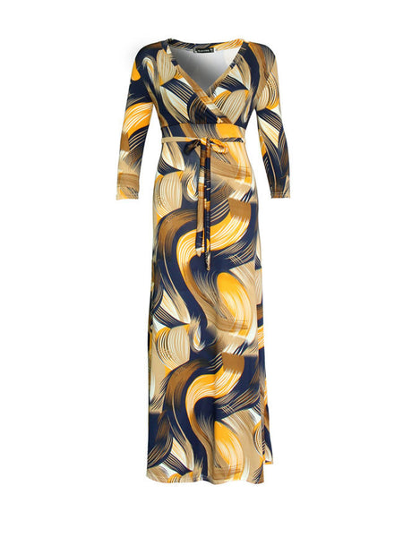 Casual V-Neck Printed Plus Size Maxi Dress
