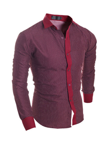 Mens Single Breasted Polka Dot Blouse - Bychicstyle.com