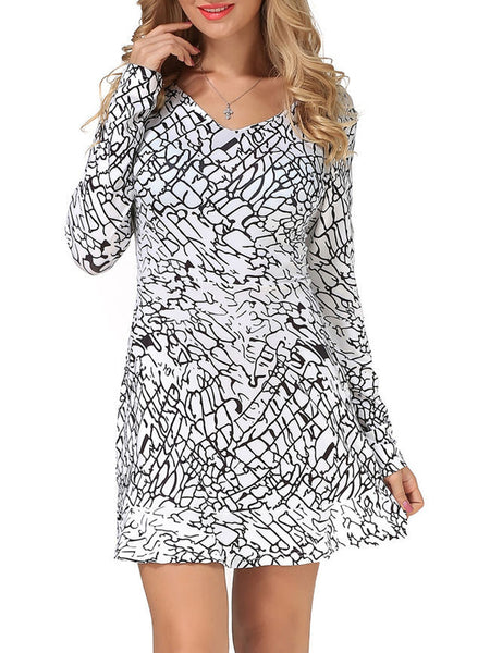 Ruffled Hem Abstract Print V-Neck Shift Dress - Bychicstyle.com