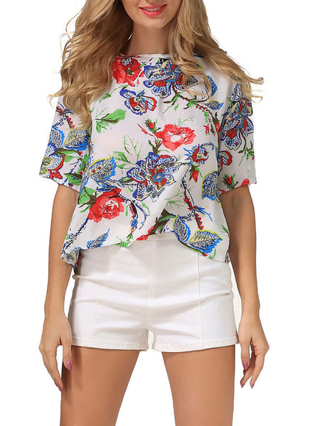 Crew Neck Back Hole Floral Printed Blouse - Bychicstyle.com