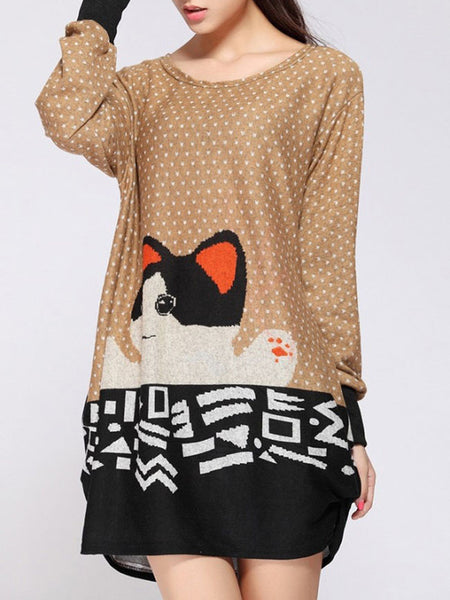 Round Neck Polka Dot Cat Printed Plus Size T-Shirt - Bychicstyle.com
