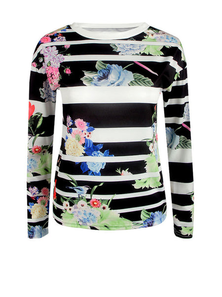 Floral Striped Round Neck Long Sleeve T-Shirt - Bychicstyle.com