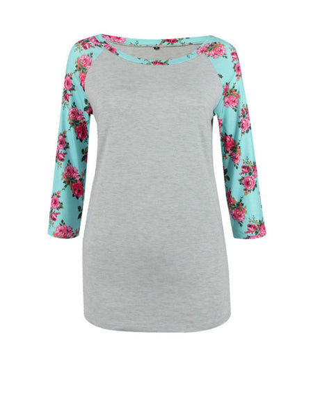 Delightful Round Neck Floral Printed Raglan Sleeve T-Shirt - Bychicstyle.com