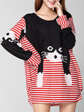 ByChicStyle Casual Round Neck Cat Color Block Striped Plus Size T-Shirt