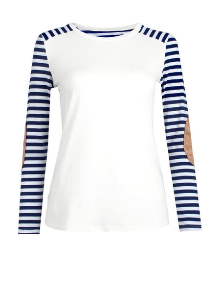 Crew Neck Striped Long Sleeve T-Shirt - Bychicstyle.com
