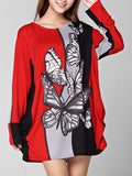 ByChicStyle Butterfly Round Neck Color Block Printed Plus Size T-Shirt - Bychicstyle.com