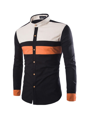 Casual Band Collar Chic Men's Shirt