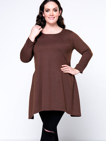 Casual Basic Round Neck Plain Plus Size T-Shirt