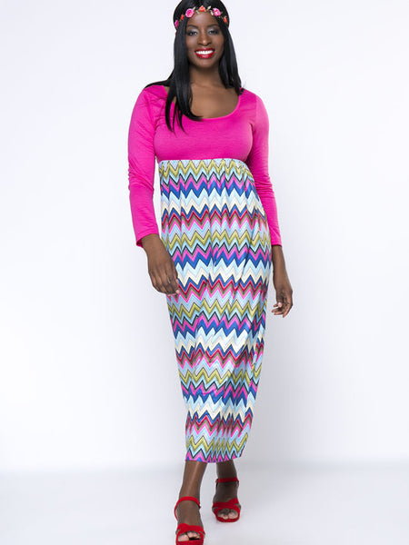 Casual Zigzag Striped Scoop Neck Empire Plus Size Maxi Dress