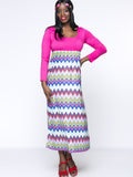 ByChicStyle Casual Zigzag Striped Scoop Neck Empire Plus Size Maxi Dress