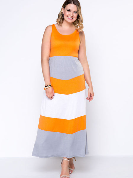 Casual Round Neck Cartoon Striped Excellent Plus Size Maxi Dress
