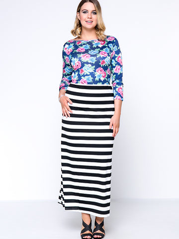 Boat Neck Floral Striped Exquisite Plus Size Maxi Dress - Bychicstyle.com