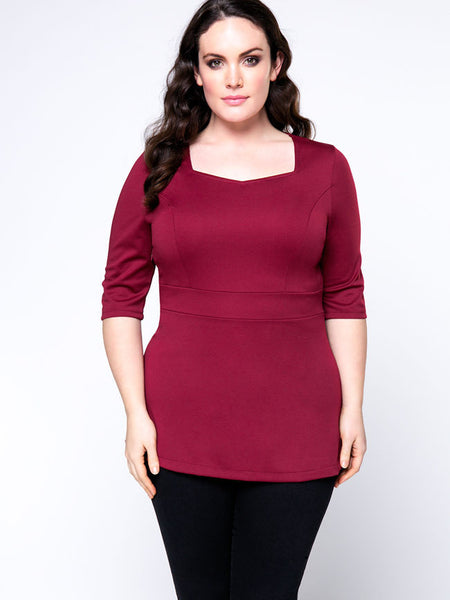 Sweet Heart Simple Attractive Plain Plus Size T-Shirt - Bychicstyle.com