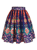 ByChicStyle Colorful Tribal Printed Flared Midi Skirt - Bychicstyle.com