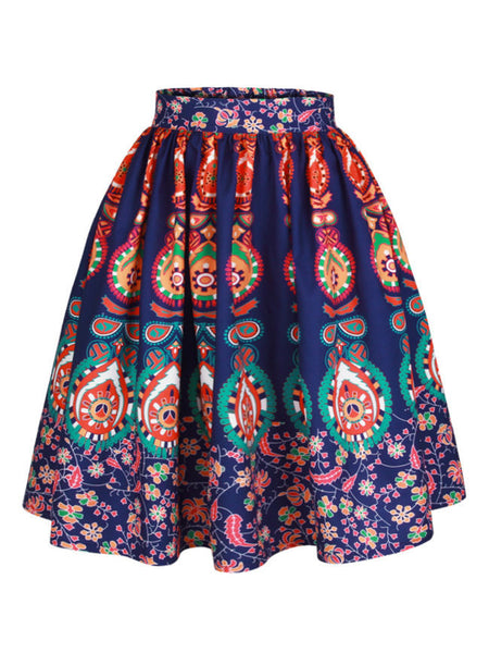 Colorful Tribal Printed Flared Midi Skirt - Bychicstyle.com