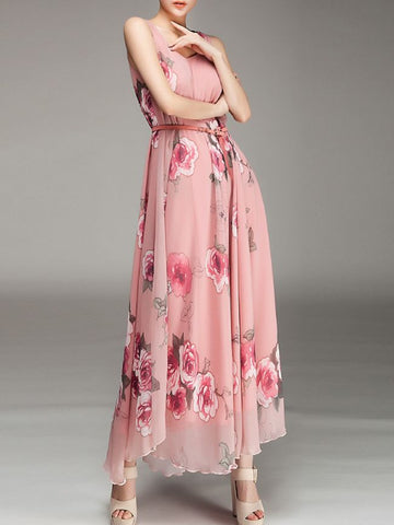 Casual Round Neck Belt Floral Chiffon Maxi Dress