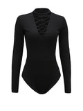 ByChicStyle Band Collar Lace-Up Hollow Out Plain Bodysuit - Bychicstyle.com