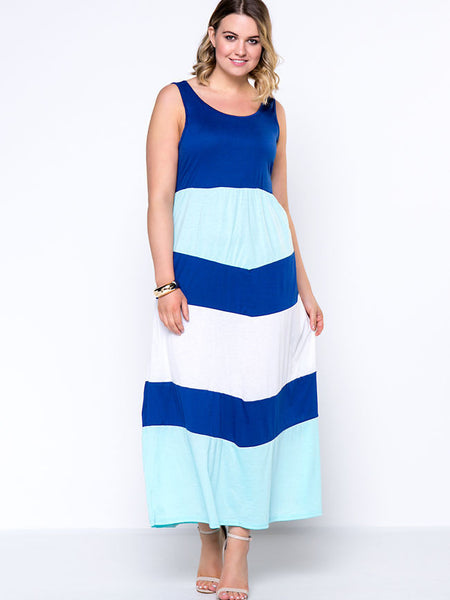 Color Block Striped Round Neck Glamorous Plus Size Maxi Dress - Bychicstyle.com