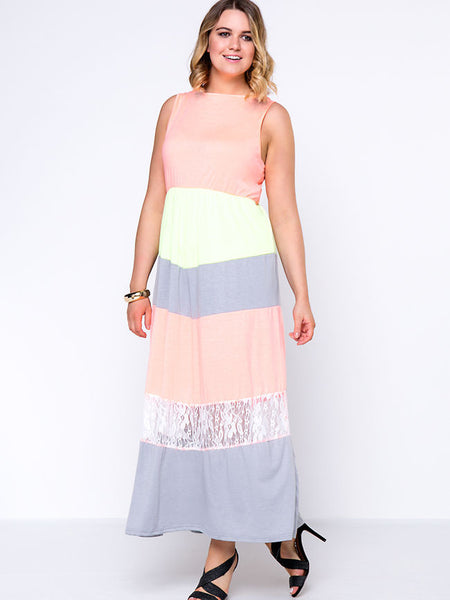 Patchwork Color Block Hollow Out Striped Plus Size Maxi Dress - Bychicstyle.com
