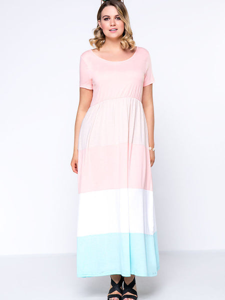 Color Block Striped Round Neck Casual Plus Size Maxi Dress - Bychicstyle.com