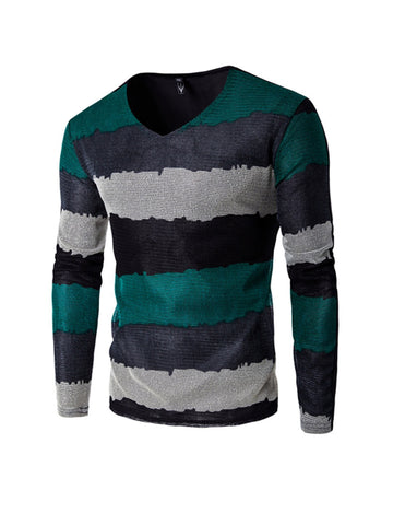 Striped Men's V Neck Long Sleeve T-Shirt - Bychicstyle.com