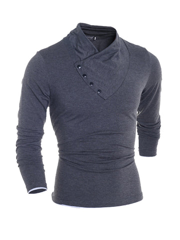 Buttons High Neck Men's Sweatshirt - Bychicstyle.com
