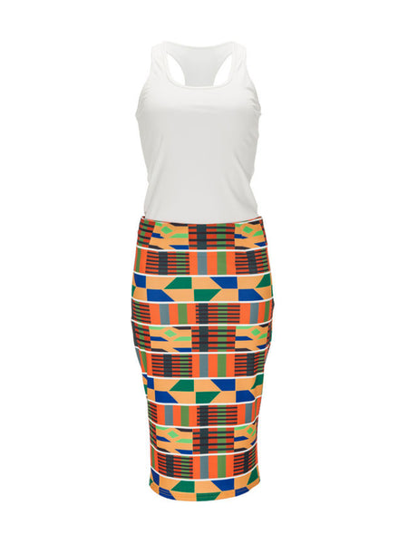 Round Neck Racerback Plain Top And Geometric Striped Pencil Skirt - Bychicstyle.com