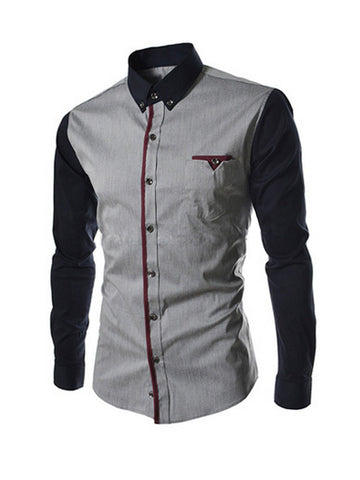 Mens Color Block Patchwork Long Sleeve Shirt - Bychicstyle.com