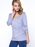 ByChicStyle Ruched Deep V-Neck Decorative Button Plain Long Sleeve T-Shirt - Bychicstyle.com