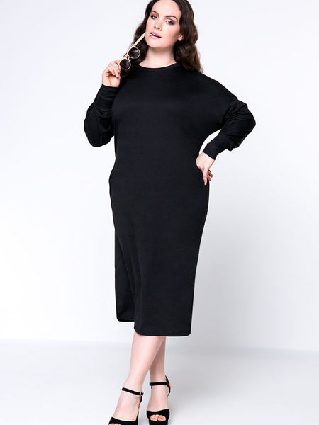 Brief Designed Crew Neck Batwing Sleeve Plus Size Shift Dress - Bychicstyle.com