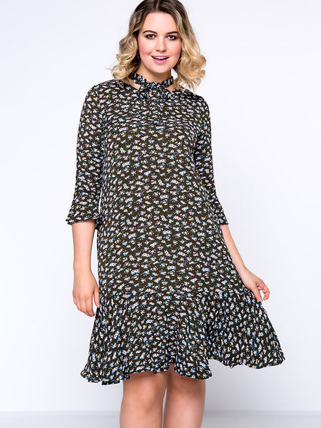 Casual Allover Floral Printed Tie Collar Ruffled Hem Plus Size Shift Dress