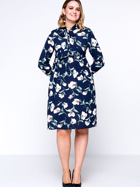 Celebrity Tie Collar Floral Plus Size Shift Dress - Bychicstyle.com