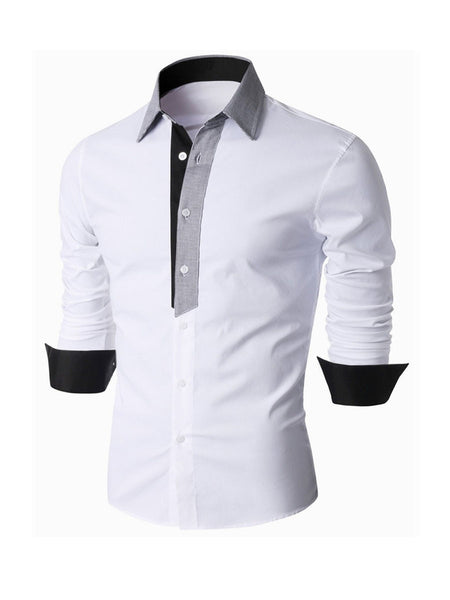 Color Block Patchwork Small Lapel Men's Shirt - Bychicstyle.com