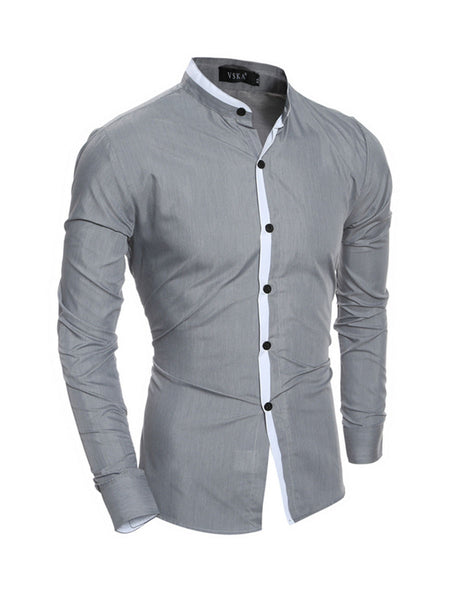 Mens Band Neck Shirt - Bychicstyle.com