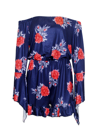Casual Bell Sleeve Off Shoulder Ruffled Hem Floral Printed Romper