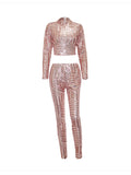 ByChicStyle Sparkling Band Collar Glitter Plain Crop Top And Slim-Leg Pant - Bychicstyle.com