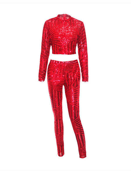 Sparkling Band Collar Glitter Plain Crop Top And Slim-Leg Pant - Bychicstyle.com