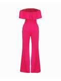 ByChicStyle Off Shoulder Flounce Plain Wide-Leg Jumpsuit - Bychicstyle.com