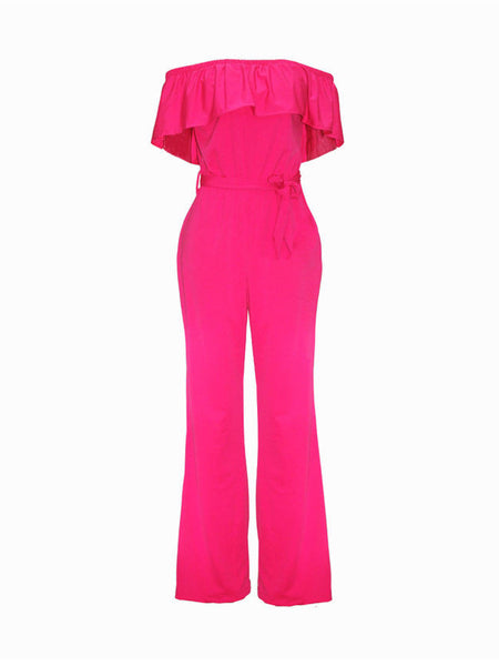 Off Shoulder Flounce Plain Wide-Leg Jumpsuit - Bychicstyle.com