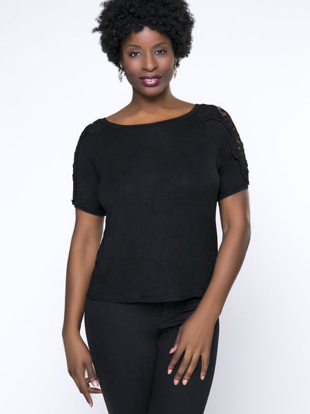 Hollow Out Plain Brief Round Neck Plus Size T-Shirt - Bychicstyle.com