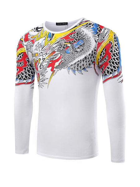 Dragon Printed Men's Long Sleeve T-Shirt - Bychicstyle.com