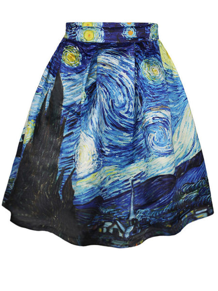 Polyester Printed Printed Midi Skirt - Bychicstyle.com