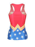 ByChicStyle Casual Racerback Color Block Star Scoop Neck Tank Top