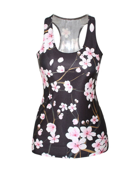 Slim Floral Printed Sleeveless Tank Top - Bychicstyle.com