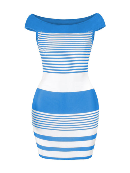 Off Shoulder Striped Hot Bodycon Dress - Bychicstyle.com