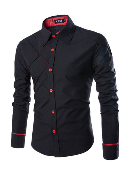 Streetstyle  Casual Asymmetric Designed Men's Shirt