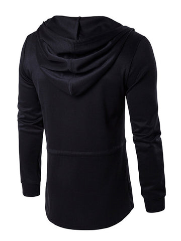 Casual Drawstring Loose Men's Long Hoodie