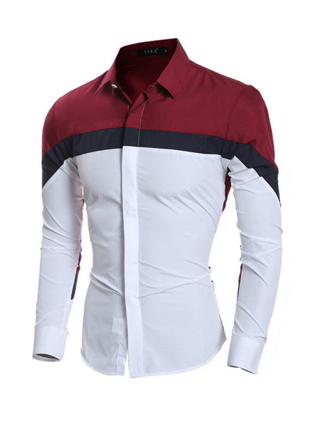Men's Color Block Long Sleeve  Shirt - Bychicstyle.com