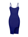 ByChicStyle Spaghetti Strap Cutout Plain Bodycon Dress - Bychicstyle.com